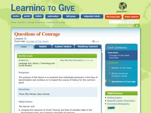 Questions of Courage Lesson Plan