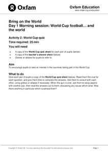Bring on the World: World Cup Quiz Lesson Plan