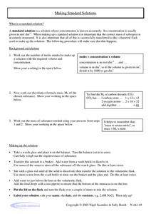 Making Standard Solutions Worksheet