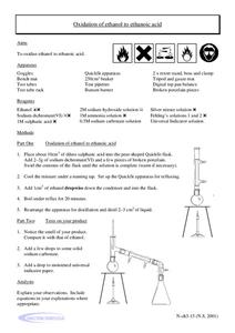 Oxidation of Ethanol to Ethanoic Acid Worksheet