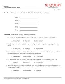 Science – Scientific Method Worksheet