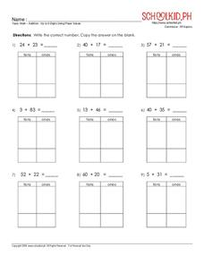 Addition: Up to 2-Digits Using Place Values Worksheet