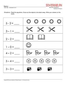 Math – Subtraction 0 to 5 Worksheet