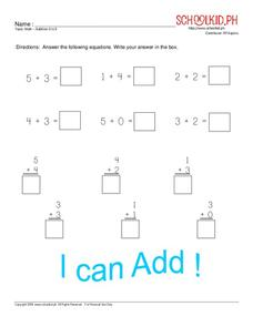 Math – Addition 0 to 5 Worksheet