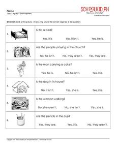 Language – Short Responses Worksheet
