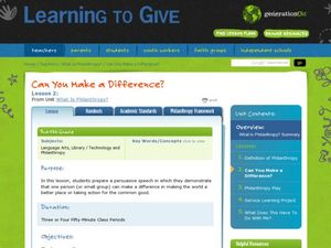 Can You Make a Difference? Lesson Plan