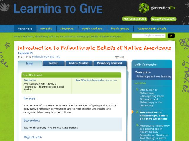 Philanthropic Beliefs of Native Americans Lesson Plan