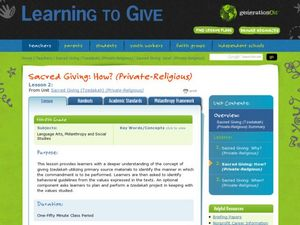 Sacred Giving: How? Lesson Plan