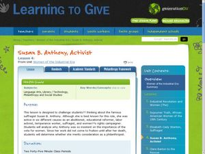 Susan B. Anthony, Activist Lesson Plan