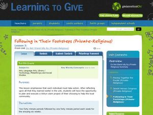 Following in Their Footsteps (Private-Religious) Lesson Plan