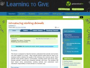 Introducing Working Animals Lesson Plan