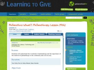 Philanthro What?: LEAGUE Philanthropy Lesson Lesson Plan