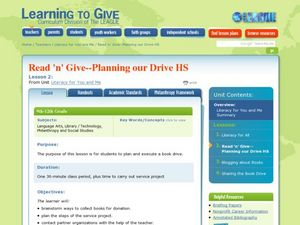 Read 'n' Give-Planning Our Book Drive Lesson Plan