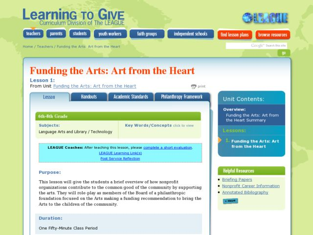 Funding the Arts: Art from the Heart Lesson Plan