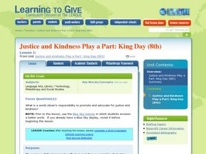Justice and Kindness Play a Part: King Day Lesson Plan
