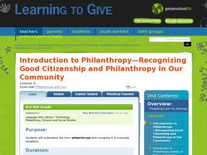 Introduction to Philanthropy- Recognizing Good Citizenship and Philanthropy in Our Community Lesson Plan