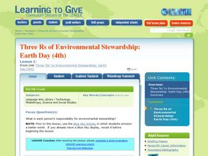 Three R's to Environmental Stewardship: Earth Day Lesson Plan