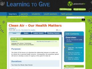 Clean Air: Our Health Matters Lesson Plan