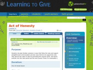 Act of Honesty Lesson Plan