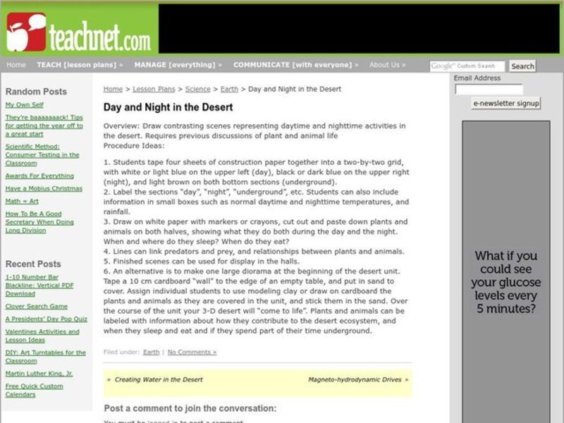 Day and Night in the Desert Lesson Plan