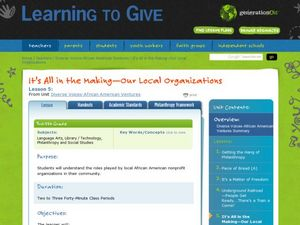 It's All in the Making: Our Local Organizations Lesson Plan