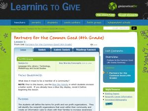 Partners for the Common Good: One Day Lesson Plan