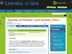 """Society of Friends"" and Society Lesson Plan"