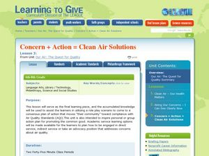Concern + Action = Clean Air Solutions Lesson Plan