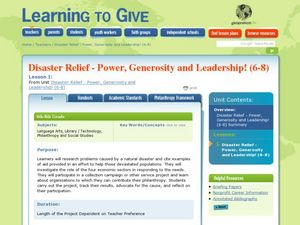 Disaster Relief - Power, Generosity and Leadership Lesson Plan