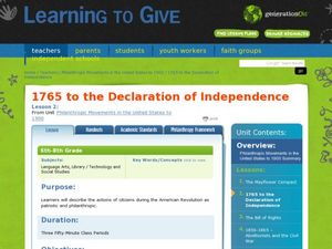 1765 to the Declaration of Independence Lesson Plan