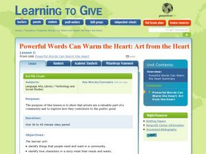 Powerful Words Can Warm the Heart: Art from the Heart Lesson Plan