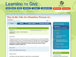 A Day in the Life of a Homeless Person Lesson Plan