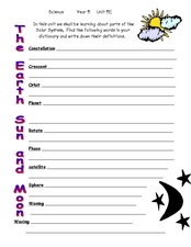 The Earth, Sun, and Moon Worksheet