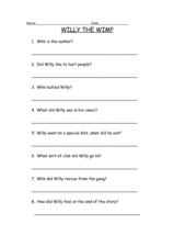 Willy the Wimp Worksheet