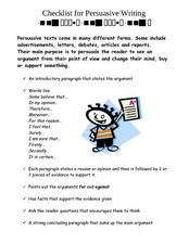 Checklist for Persuasive Writing Worksheet