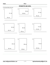 Perimeter and Area 3 Worksheet