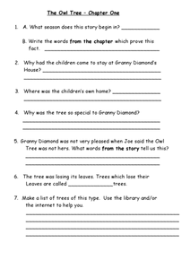 The Owl Tree Worksheet