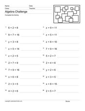 Algebra Challenge #3 Worksheet