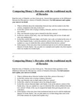 Comparing Disney's Hercules with the Traditional Myth of Heracles Worksheet