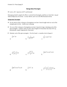Integration Strategies Worksheet