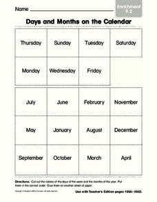 Days and Months on the Calendar Worksheet
