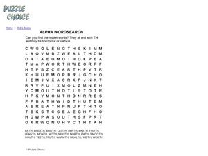 Alpha Word Search Worksheet