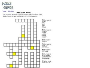 Mystery Word Crossword Puzzle Worksheet