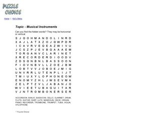 Topic - Musical Instruments Word Search Worksheet