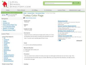 Turkey Color Page Lesson Plan