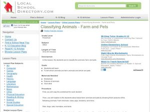 Classifying Animals - Farm and Pets Lesson Plan