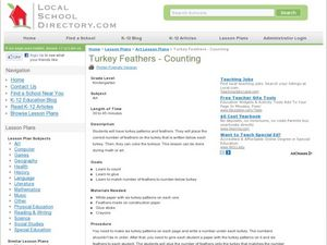 Turkey feathers- Counting Lesson Plan