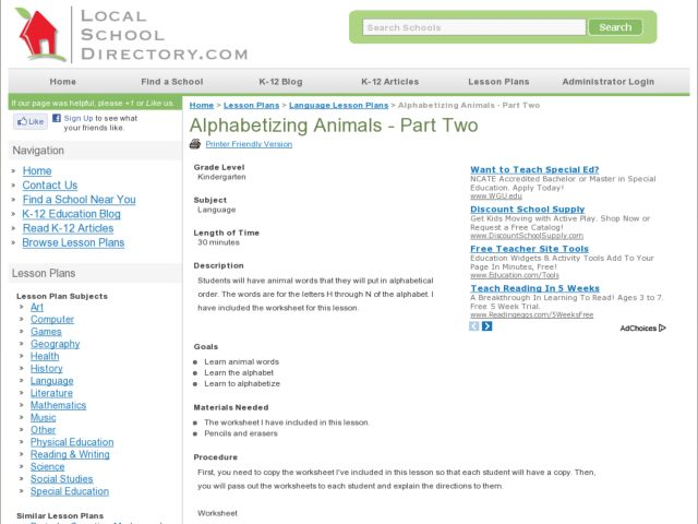 Alphabetizing Animals- Part Two Lesson Plan