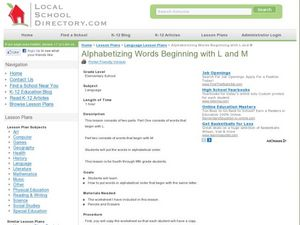 Alphabetizing Words Beginning with L and M Lesson Plan