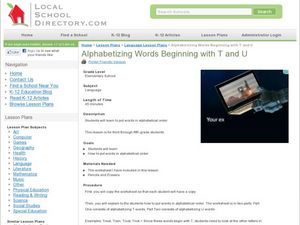 Alphabetizing Words Beginning with T and U Lesson Plan